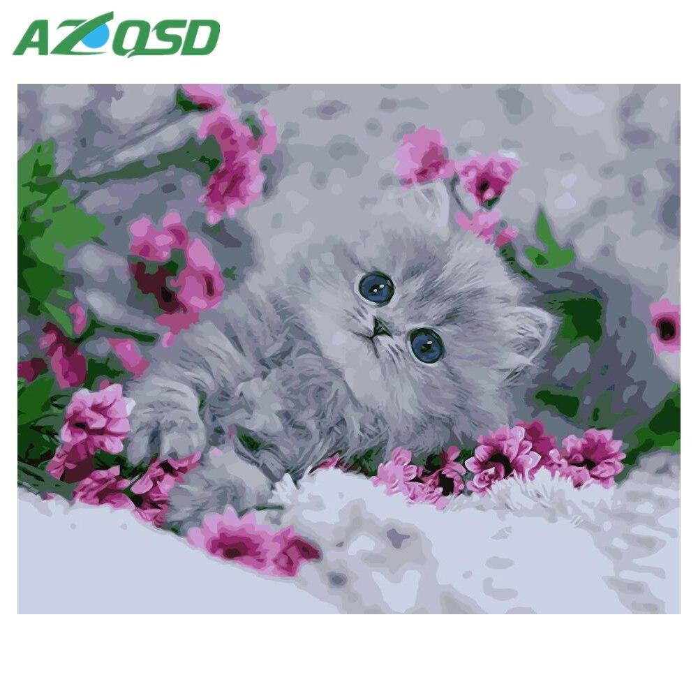 AZQSD DIY Peinture Par Numéros Animaux 40x50 cm Coloration Par des Numéros Mignon Chat Abstrait Image Par Numéros Gouache peinture szyh2093