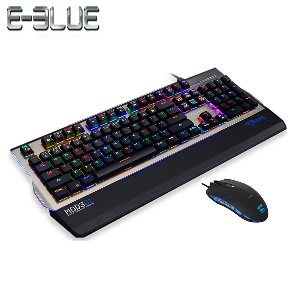 E-3LUE K751 Flexible Mechanical Keyboard RGB Aluminuml alloy Panel full size Removable 104 Keys with competitive gaming mouse