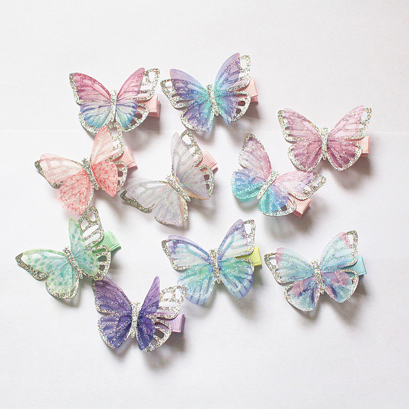 20PCS/LOT Modish Girls Butterfly Hair Clips Glitter Silver Double Layers Hairpin Cute Girls Kids Hairpin Barrettes Lovely Clips