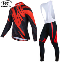 KIDITOKT Winter Thermal Fleece Cycling Jerseys Set Long Sleeve Bike Wear Bicycle Clothing Ropa Ciclismo Invierno