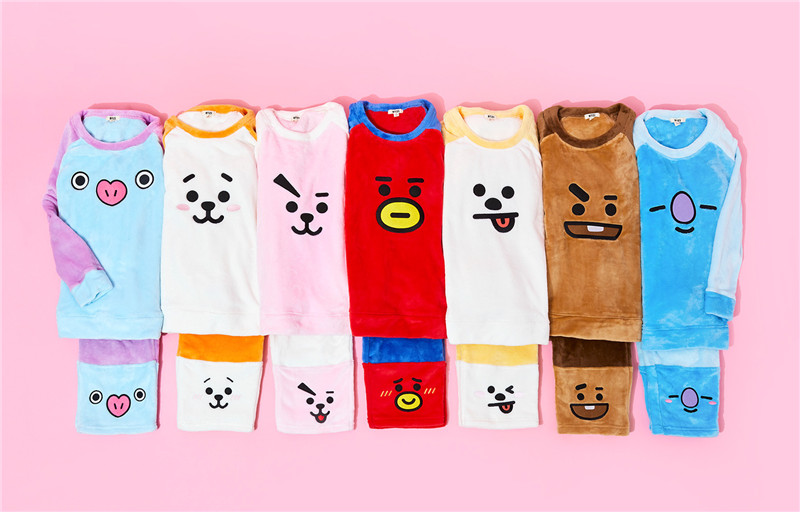 BT21 BTS Adult Unisex Pajamas Cosplay Costume TATA RJ MANG COOKY CHIMMY SHOOKY KOYA Flannel Pyjamas Set