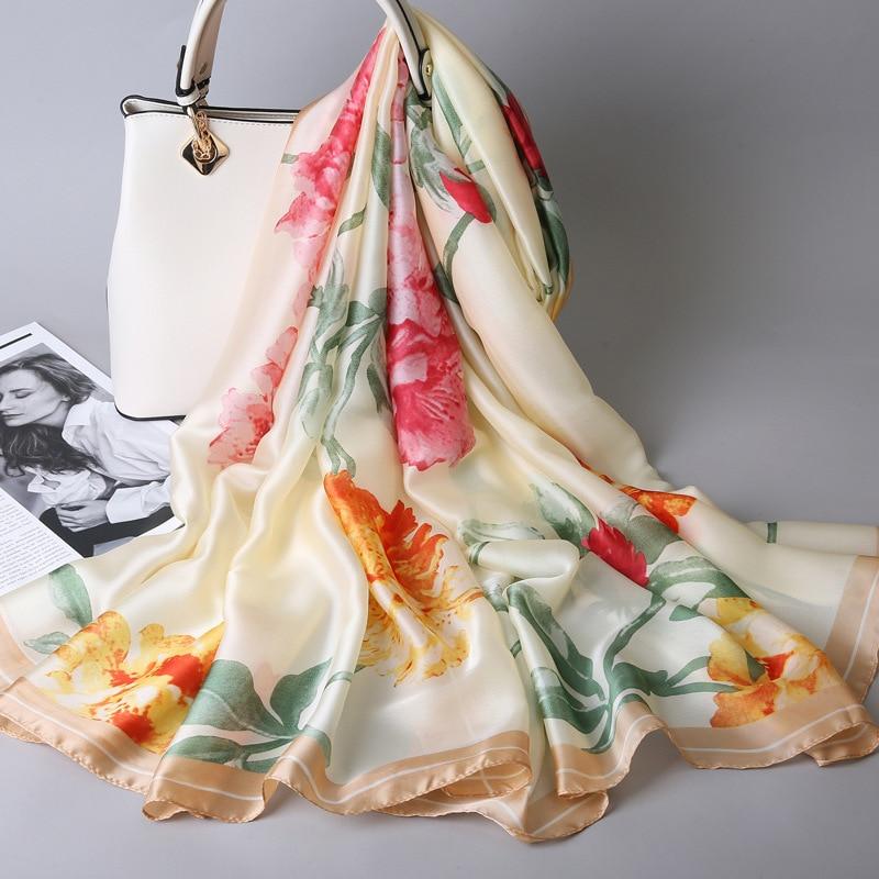 2019 New Luxury Brand Women   Scarf   Summer Soft Long Size Shawls Silk   Scarves     Wrap   Lady Bandana Pashmina Cachecol hijabs Shawls