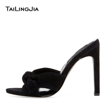Elegance Soft Black Women Sandals High Heel Mules Woman Brand Party Wedding Dress Shoes Nude Plus Size