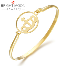 BRIGHT MOON Bangle Fashion Bracelet Stainless Steel Wristwatch Rose Gold Crown for Women