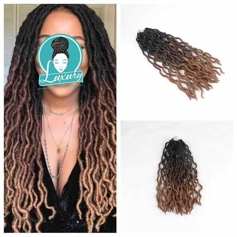 """Trenza de lujo Ombre 20 """"24 raíces Faux Locs rizado ondulado Crochet trenzas sintético Dread bohemio Gypsy Locs extensiones de cabello"""