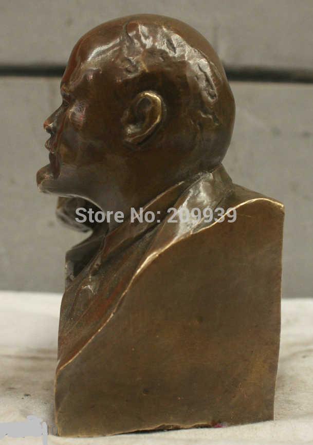 Huij 005711 Chinês China Folk Cultura Feito À Mão Estátua de Bronze BRAAS Marx e Lenin Escultura