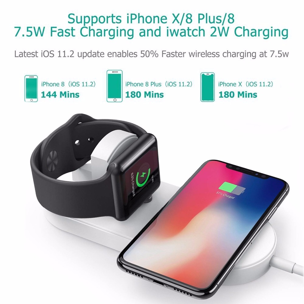 New Portable 2 in 1 Qi Standard Wireless Charger for iPhone X 8 Plus Apple Watch 3 Cordless Powerful Wireless Charging Pad Plate 12