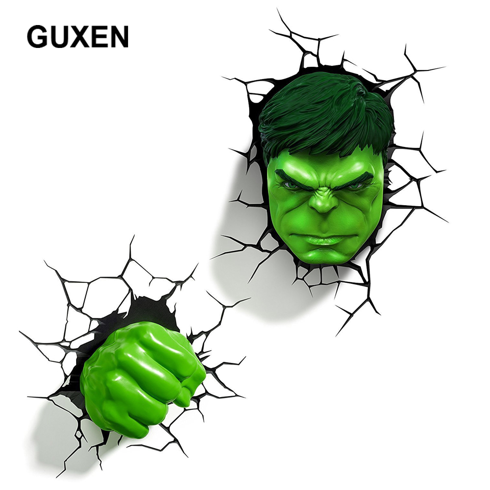 все цены на Guxen Hero Hulk head& hand 3D Marvel Toy Creative sticker wall LED Lamp hanging decoration luminaires Children's Night Light