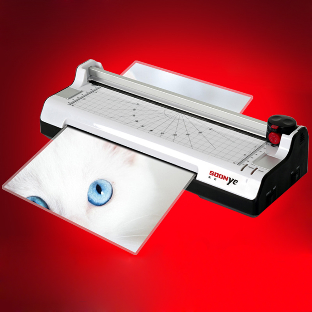 Free Ship 1 PCS 220V-240V YE288 Photo Laminator Hot Cold A4 Sealed Plastic Laminating Machine Photo laminator photo laminator a3 a4 roll laminator laminating machine 4 roller system photo laminator lk4 320 220v 300w cold laminator