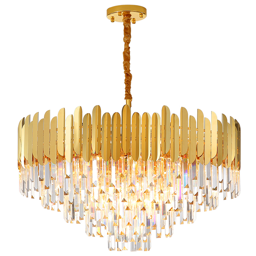 round design crystal chandelier lighting living room lamp AC110V 220v lustre cristal dinning room gold chandeliers