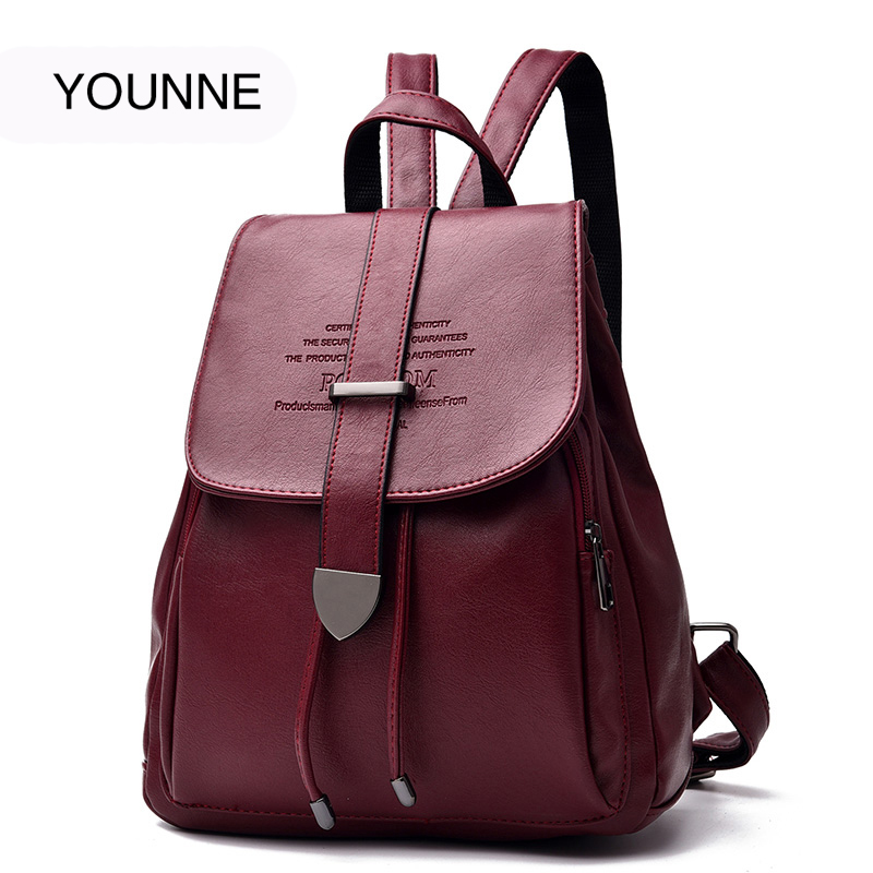 YOUNNE Women Leather Backpack Female Fashion Backpacks Ladies Solid Color Letter Pattern Shoulder Bag Young Girl School Bags Bao lemon kitten japanese canvas solid school bag backpack for women young girl backpacks adolescent female