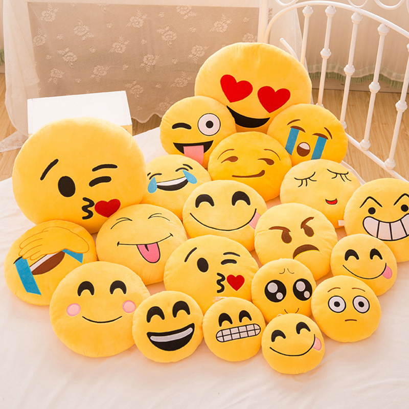 30 CM Soft Emoji Yellow Round Cushion Emoticon Stuffed Plush Toy Smiley Pillow Activity Small Gift Funny Hold Pillow #253935 2