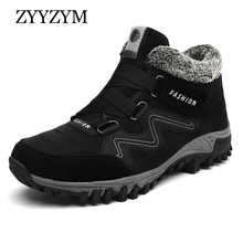 ZYYZYM Men Boots Winter With Fur 2019 Warm Snow Footwear Fashion Rubber Ankle Shoes Plus Size 39-46