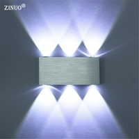 ZINUO Alumínio 6 W Led Wall Light UP & Down DIODO EMISSOR de luz Da Escada Lâmpada de Leitura do Quarto Sconce Luz de Parede de cabeceira Varanda Escada Lâmpada 220 V 110 V