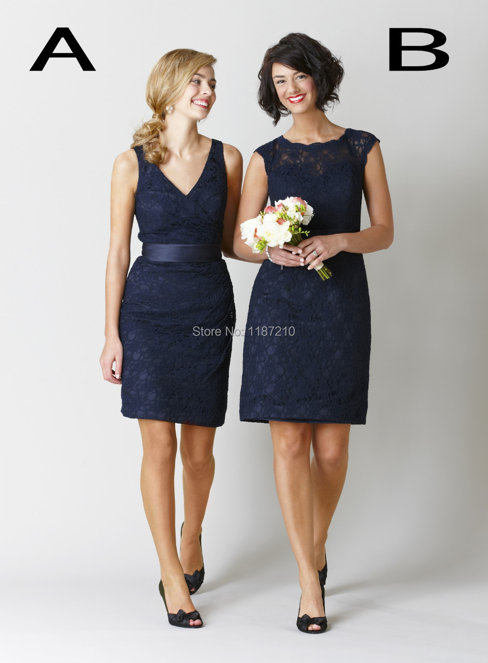 2015 new navy blue lace short bridesmaid dresses cheap formal 2015 new navy blue lace short bridesmaid dresses cheap formal party prom dress with backless knee length bow in bridesmaid dresses from weddings events on ombrellifo Gallery