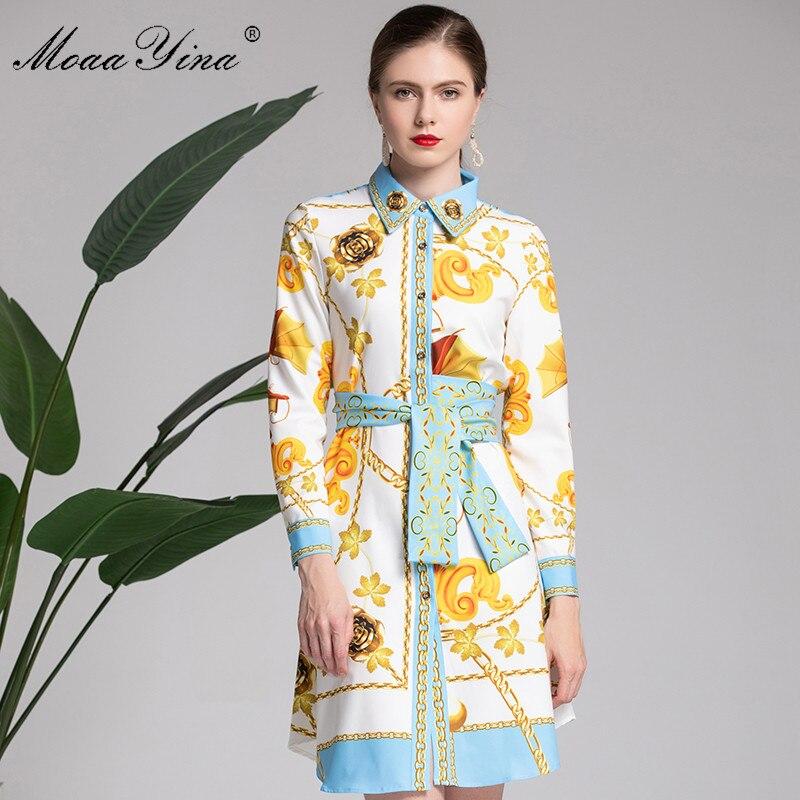 MoaaYina Mode Designer Runway Kleid Frühling frauen langarm Gürtel Vintage Floral Print Kleid Weibliche kleidung vestidos-in Kleider aus Damenbekleidung bei  Gruppe 2