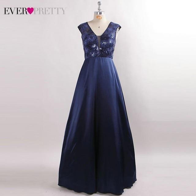 Prom Dresses Long 2020 Ever Pretty EZ07731NB New Navy Blue A-line Lace Appliques Sequined Wedding Guest Gowns Vestido De Gala 5
