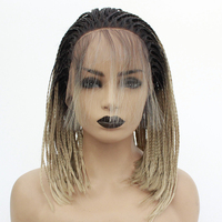 Synthetic Lace Front Wig Box Braids with Baby Hair Ombre Blonde Short Hair Bob Heat Resistant Micro Braid Wigs for Black Women