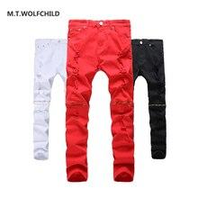 M T WOLFCHILD Fashion 2017 font b Men s b font new font b jeans b
