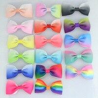 2 7 Grosgrain Ribbon Boutique Rainbows Bow Hair Bows WITH Alligator Clips Baby Girls Children Kids