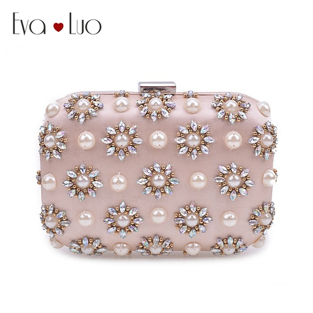 016de2a39a1 JZX7 DHL Free Shipping Light Pink Beading Pearl Crystal Evening Bags Clutch  Bag Women Clutches Lady Wedding bag Handbag Purse