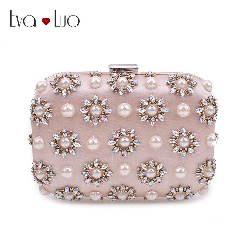 JZX7 DHL envío gratis luz Rosa cuentas de perlas de cristal bolsos de noche bolso de embrague de mujer embragues señora boda bolso monedero-in Bolso de noche from Maletas y bolsas    1