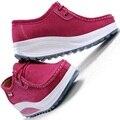 Женщины плоские с клин платформы увеличение дамы теннис тренеры обувь из натуральной кожи с низким топ повседневная обувь zapatillas mujer 277 т
