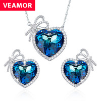 Veamor real 925 sterling silver jewelry set love heart necklace and earrings blue crystals from australia.jpg 200x200
