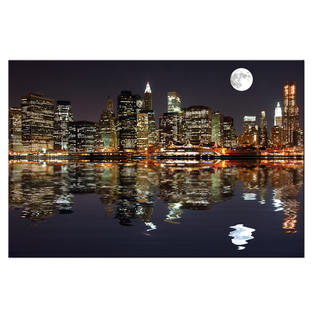 New york manhattan skyline bulan malam kota night view gambar cetakan kanvas lukisan cityscape wall art