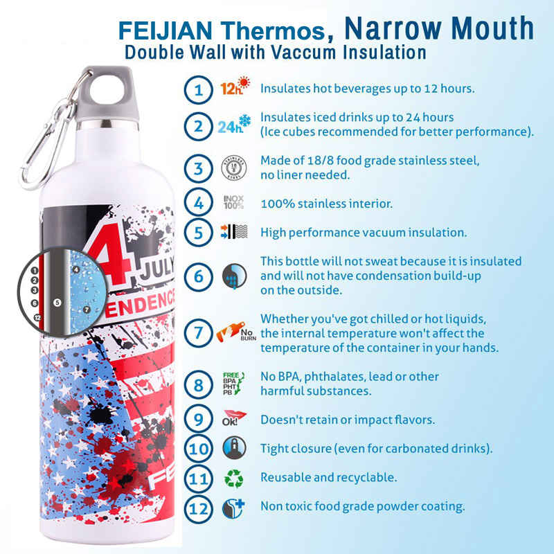 FEIJIAN Thermos Vakuum İzolyasiya edilmiş Flask Paslanmayan Polad - Mətbəx, yemək otağı və barı - Fotoqrafiya 2