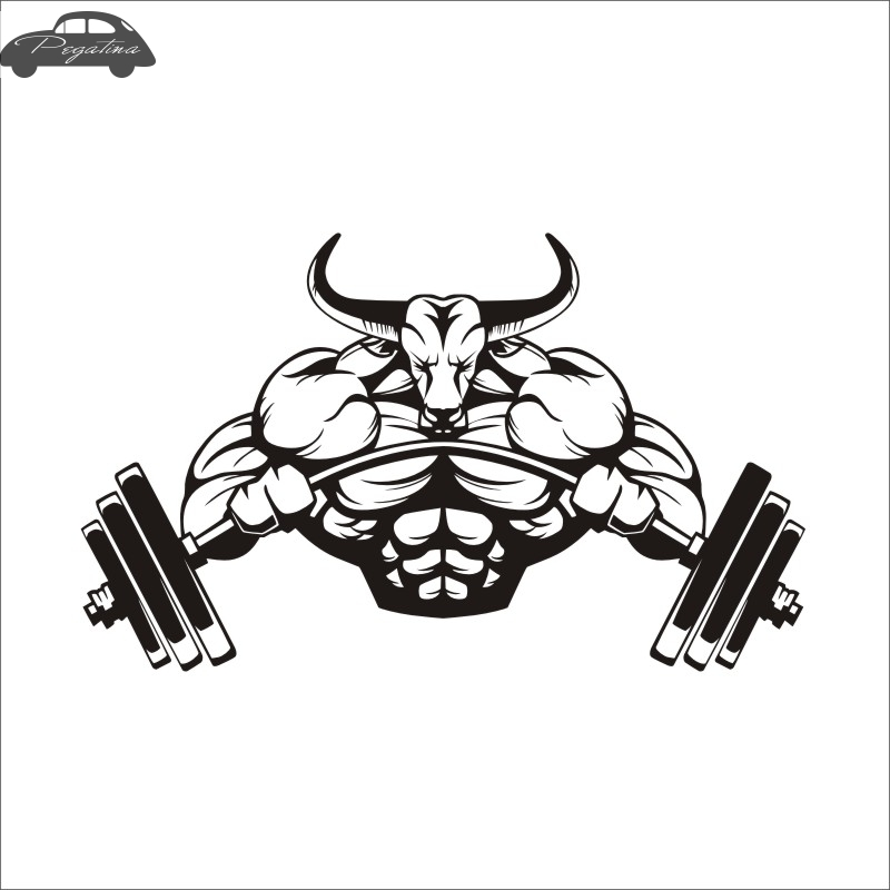 Pegatina Car Gym Sticker Barbell Bull Fitness Decal Body-building Posters Vinyl Wall Decals Quadro Parede Decor Mural