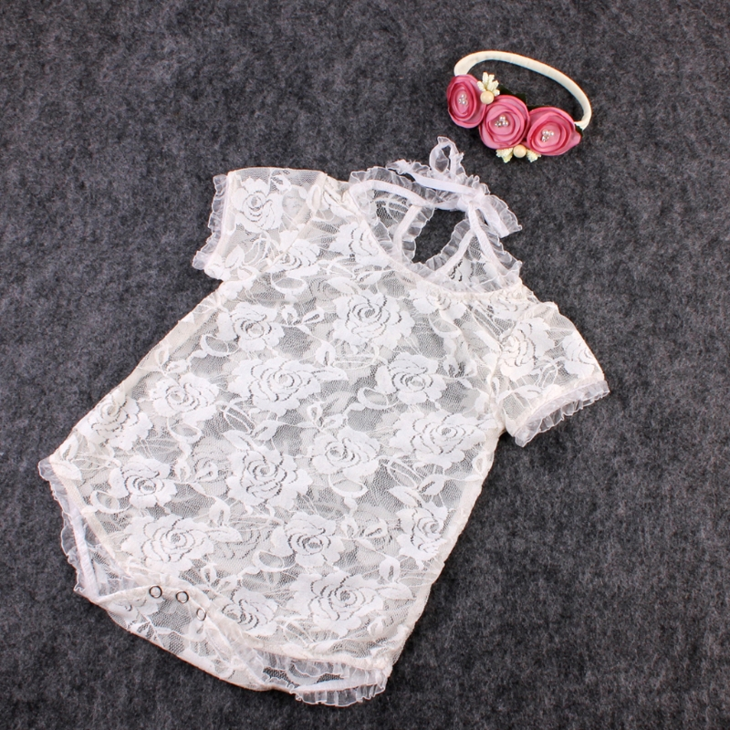 Baby Romper Photography Props Lace Costume Newborn Baby Romper Headband Infant Outfits Kids Clothes For 0-3M   Happy Baby Mama