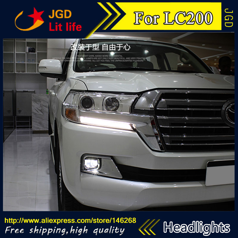 Free shipping ! Car styling LED HID Rio LED headlights Head Lamp case for Toyota Land Cruiser LC200 2016 Bi-Xenon Lens low beam