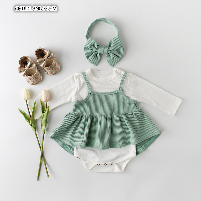 Baby Girl Clothes Spring Newborn Baby Clothes 100% Cotton New born Infant Clothing Set Baby   Romper   + Baby Dress + Headband 3pcs