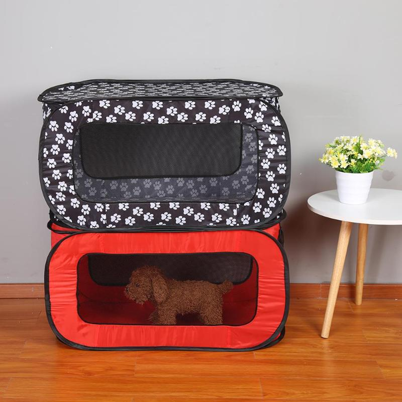 2019 1 PC <font><b>Portable</b></font> Folding Rectangular Pet Tent <font><b>Dog</b></font> Cage Playpen Fence Puppy <font><b>Kennel</b></font> Black/Red Cloth Pet House Pet Products image