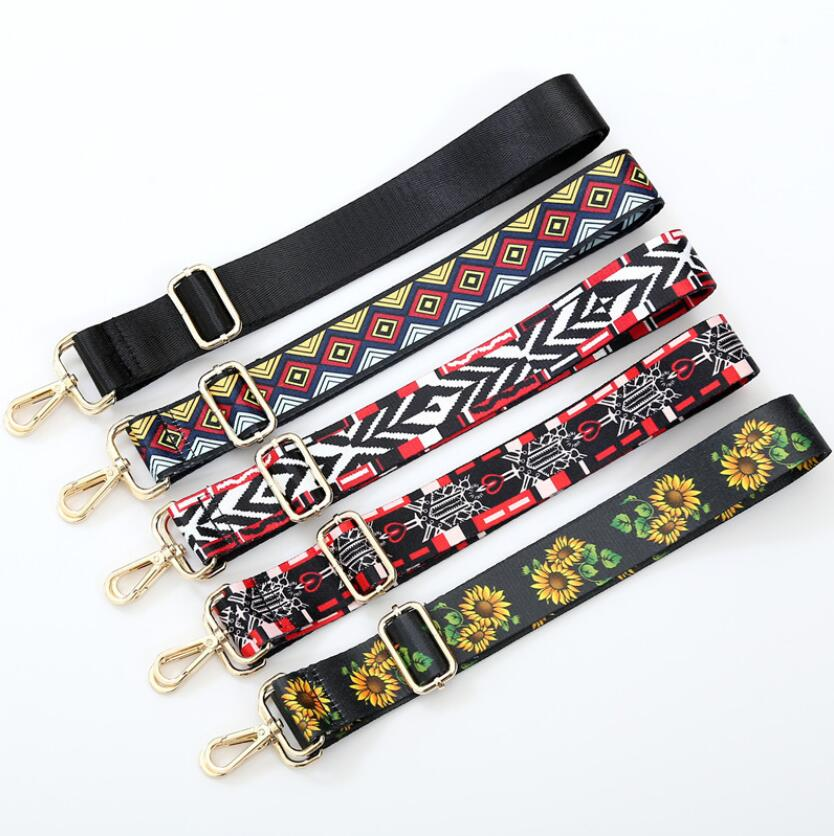 2018 New 120cm handbags national buckle Woven women bag straps new trendy holding shoulder Cross Body adjustable straps Fashion 2018 new handbags strap classic design embroidery gold buckle canvas bag straps new trendy easy holding shoulder straps qn203