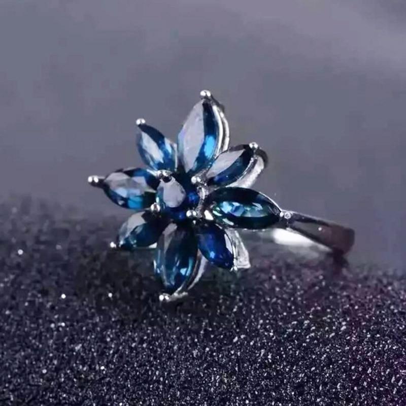Takı ve Aksesuarları'ten Halkalar'de Romantik safir çiçek yüzük doğal koyu mavi safir gümüş yüzük katı 925 ayar gümüş safir yüzük akşam parti için'da  Grup 3