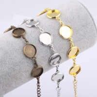 Reidgaller 10 pièces ajustement 12mm rond cabochon bracelet base réglage cuivre lunette bracelet blancs bracelets à faire soi-même faisant des fournitures