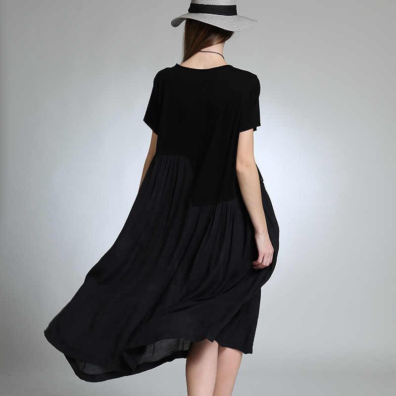 Хлопковое и льняное платье с круглым вырезом черного цвета свободная талия печать длинная плюс размер винтажная большой размер платья для женщин A0A-8027z20