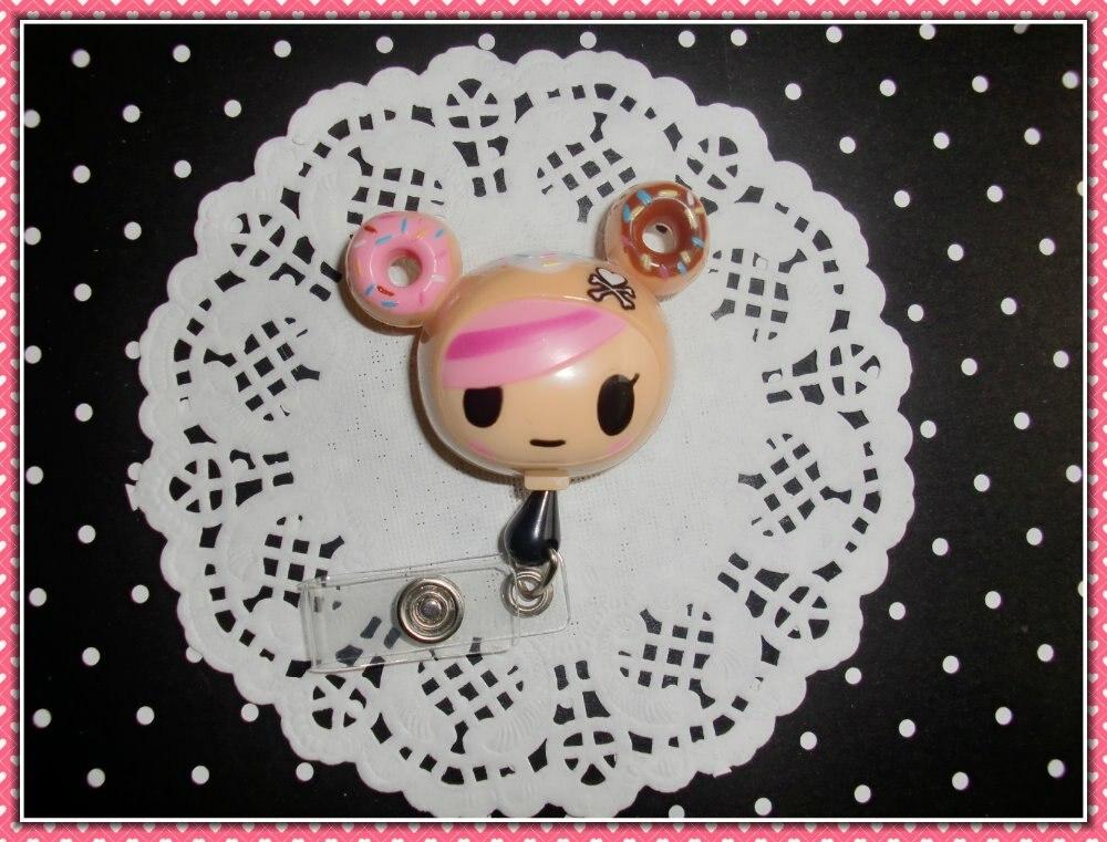 Cute kawaii 10PCS lot dotgirl Retractable Cute Lovely Fashionable of ID IC Card Badge Reel Holder