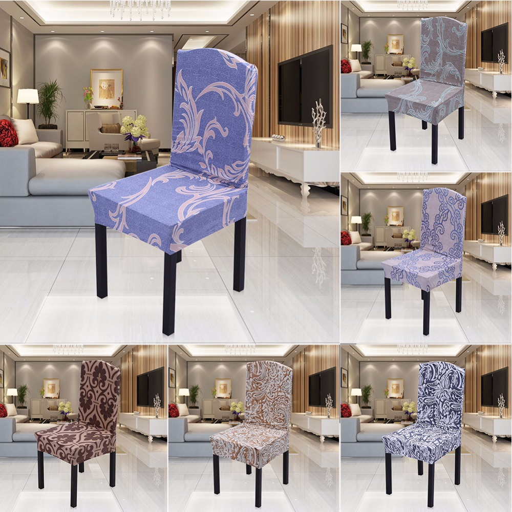 Retro floral printing dining chair covers spandex for weddings restaurant banquet kitchen stretch folding chair cover hotel