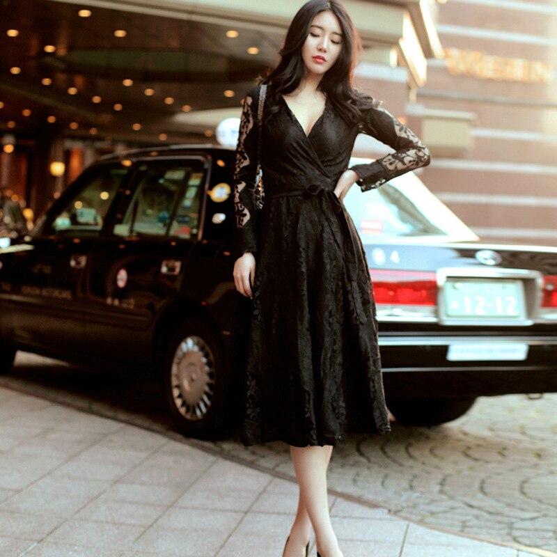 Mode femmes élégant confortable robe noire nouveauté tempérament grande taille haute qualité parti perspective sexy robe de soirée