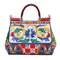 Sicilian Printed Genuine Leather Bag Women Platinum Handbag Multicolor Lady 100 Real Cow Leather Tote Bags