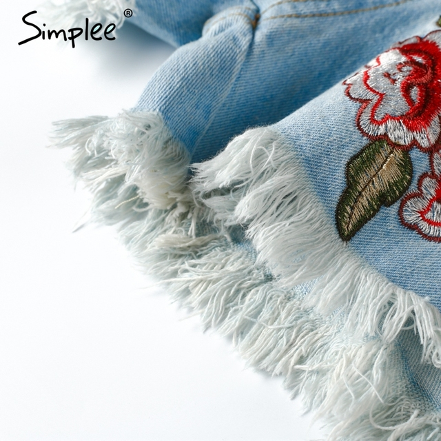 Simplee Embroidery casual blue denim shorts Women ripped hole fringe jeans shorts Vintage summer Streetwear short pants 2017