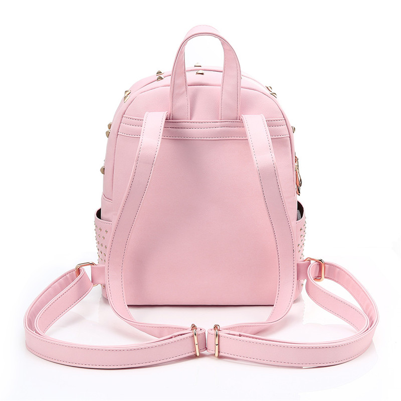 4d7e33f498 YsinoBear Pink Rivets Women Backpack Small Mini PU Leather Backpack Simple  Fashion School Bag Travel Women Back Pack for Girls-in Backpacks from  Luggage ...