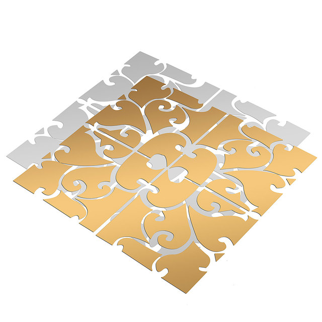 Floral Patterned Self-Adhesive Mirror Stickers Set