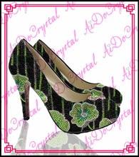 Aidocrysta colorful handmade flower crystal rhinestone women pumps high heel shoes with clutch bag