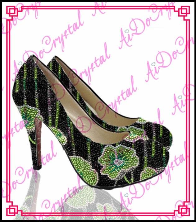Aidocrysta colorful handmade flower crystal rhinestone women pumps high heel font b shoes b font with