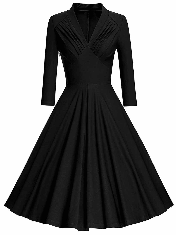 Wipalo плюс Размеры плиссированные Глубокий вырез Винтаж платье трапециевидной формы Для женщин с длинными рукавами на осень, по колено в стиле ретро; вечерние платье 5XL Vestidos
