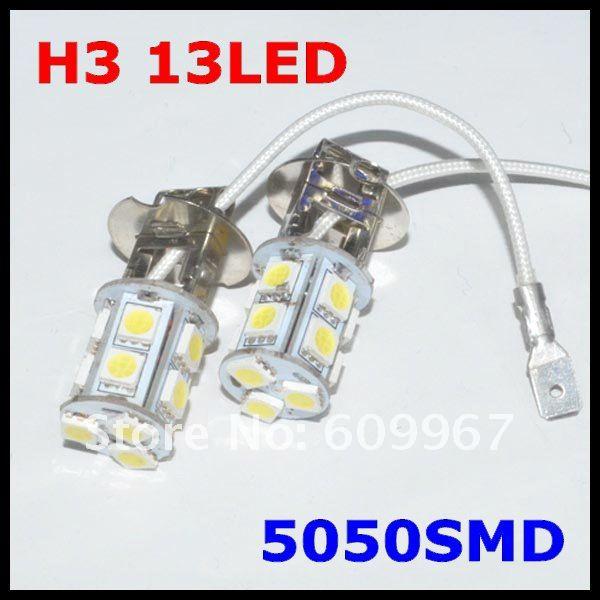Автомобильный H3 Противотуманные фары лампа диммируемая 13 светодиодный 5050 smd белый лампы Противотуманные фары луч света лампы